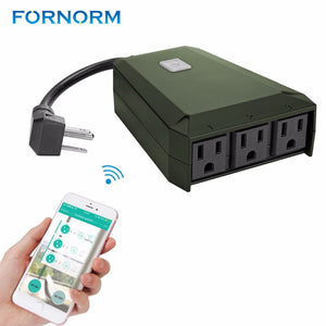 WiFi Smart Plug 1 to 3 Extension Socket Outdoor Multi-function Triple Wall Power Outlet Waterproof - reyes shop store