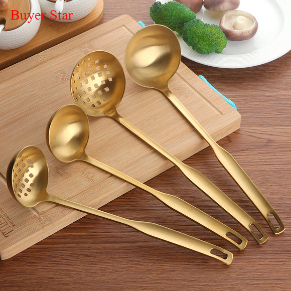 2 Pcs/Set Stainless Steel Cooking Tool Matt Polish Long Handle Soup Ladle Skimmer Golden Kitchen Accessories
