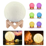 Magic 3D Printing LED Moon Lamp 16 RGB Color Changing Remote Touch Control Night Light - reyes shop store