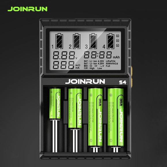 Joinrun S4/N2 Plus 18650 Li-ion Battery charger Smart 18650 Battery Charger for Li-ion/Ni-MH/Ni-CD 18650 14500 16340 AA AAA