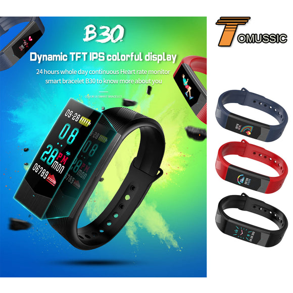 TOMUSSIC Colorful UI Face Fitness Bracelet Smart Wristbands Heart Rate Monitor Sleep Tracker Band Smart Watch for IOS Android
