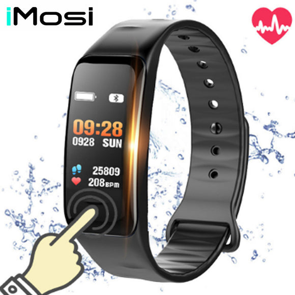 Imosi Smart bracelet C1s Color screen Waterproof wristband heart rate monitor Blood pressure measurement Fitness tracker band