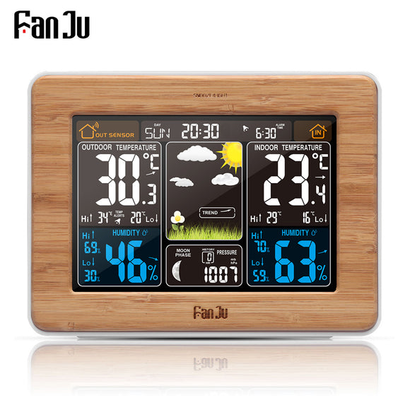 FanJu fj3365 Weather Station Color Digital Clock Temperature Humidity Sensor Barometer Forecast Desk Table LED Alarm Clock - reyes shop store