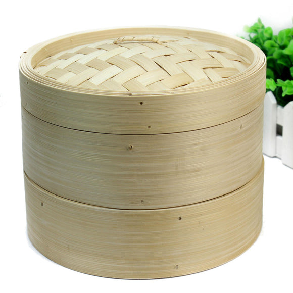 2 Tier Bamboo Steamer With Steaming Baskets And Lid Chinese Kitchen Cookware For Cooking Fish Rise Pasta Vegetables Dim Sum