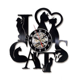 I Love Cats Record Wall Clock Vintage LED Vinyl Clock Kitten Art Silent Unique Decorative Clock 3D Hanging CD Wall Clock 7 Cats