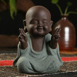 Buddha statues small monk color sand ceramic home club geomantic decoration Purple Sand Figurines Tea Pet