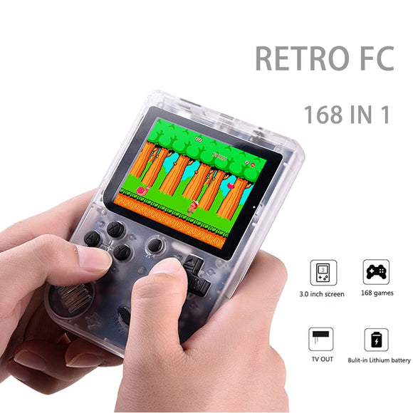 Handheld Game Consoles To TV Children Retro Mini 3 Inch 8 Bit Classic Video Game Player Black Built in 168 Gmaes Rechargeable - reyes shop store
