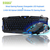 Russian Game Keyboard Changeable LED with 3 Color Luminous Backlit+2.4GH 6D Optical 2400DPI Wireless PC Gaming Mouse
