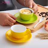 Jia-gui luo 150ml high-grade ceramic coffee cups Coffee cup set Simple European style Cappuccino flower cups Latte