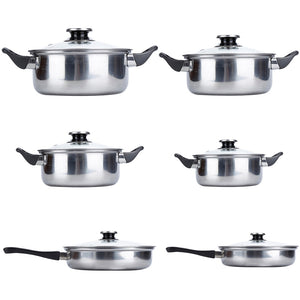 New Stainless Steel Cookware 6pcs/set Pots & Pans Kitchen Home Cooking Tool Various Size HWC