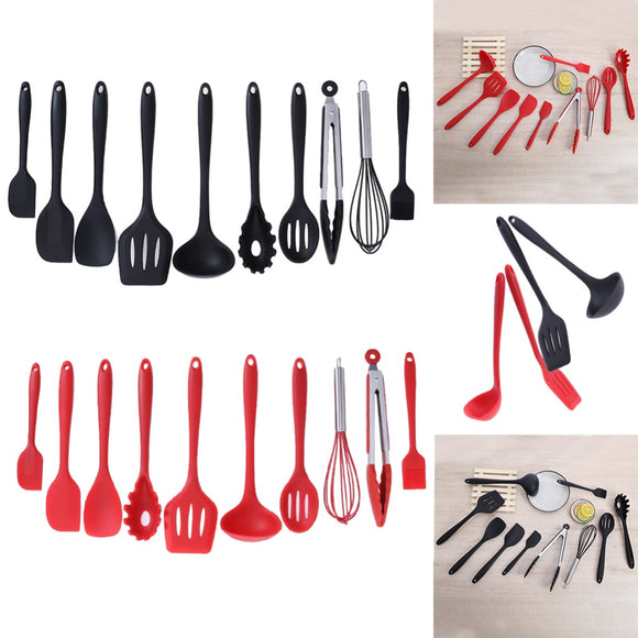 10Pcs/set Baking Cookware Set Silicone Cooking Gadgets Spatula Spoon Non-stick Kitchen Utensils Cooking Tools
