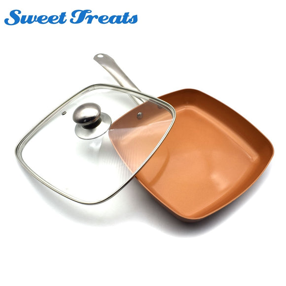 Sweettreats Copper Pan 10-Inch Nonstick Deep Square Induction Fry Pan with/without Glass Lid, Dishwasher Safe Oven Safe