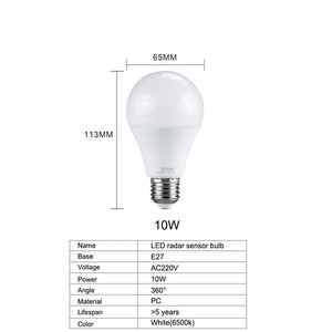 10W 15W 20W Ampoule LED E27 Sensor Radar Light Bulb 220V PIR Motion Sensor Smart LED Lamp Auto OFF/ON 6500K A65 A70 A80