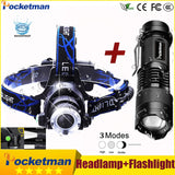 3800LM Head lamp LED Headlight T6 Head lights headlamps + Q5 Mini flashlight 2000lm Zoomable Zaklamp Taschenlampe