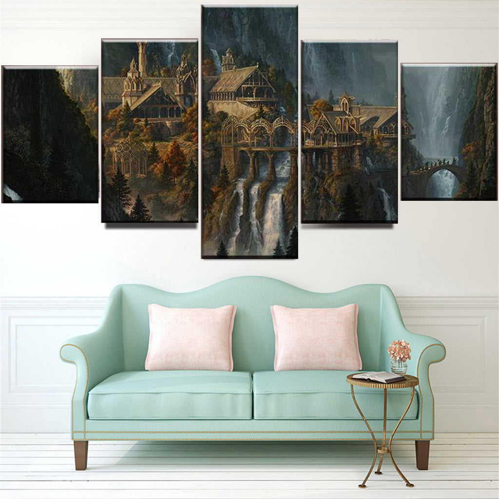 Mysterious Mountain Castle Waterfall Landscape Canvas Art