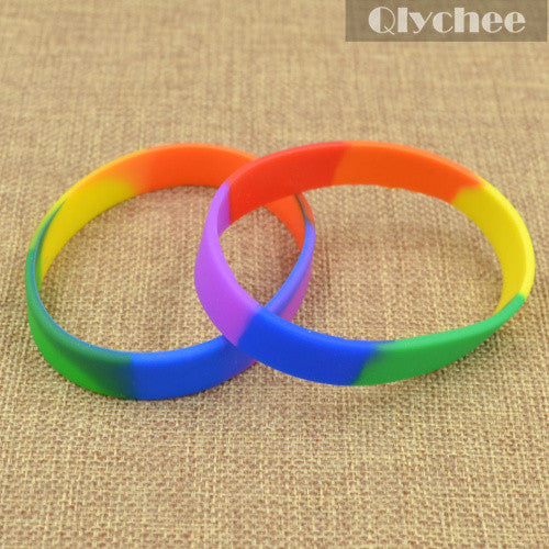 "5 Pcs Rainbow Color Plain Silicone Wristband ""Free Shipping"""