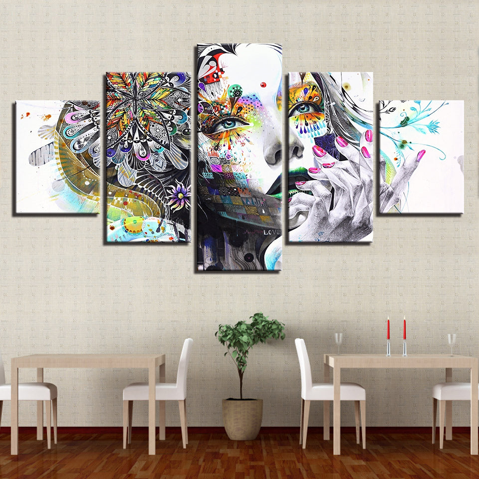 Abstract Girl With Flower Canvas Wall Art