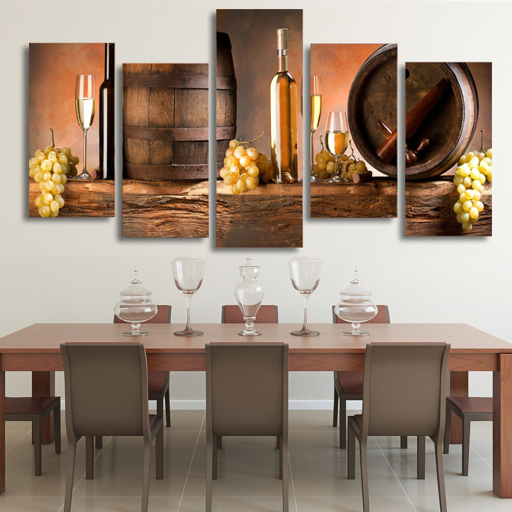 White Wine and Barrel Canvas Wall Art