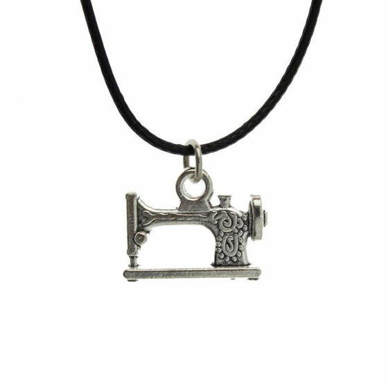 Antique Silver Sewing Machine Necklace
