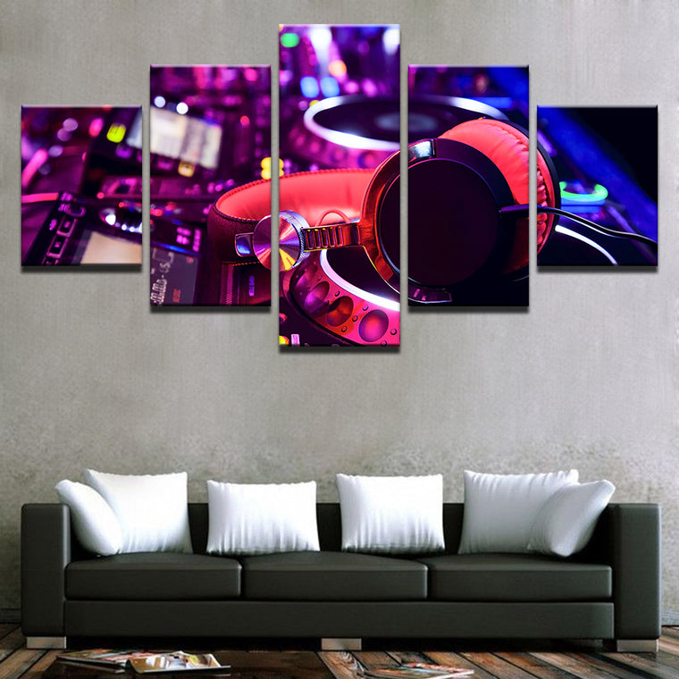 DJ Mixer & Headphone Multipanel Canvas