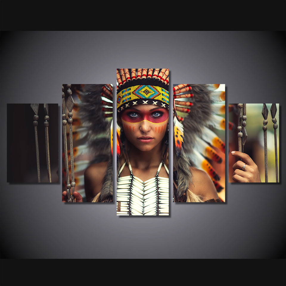 Native Indian Feathered Canvas