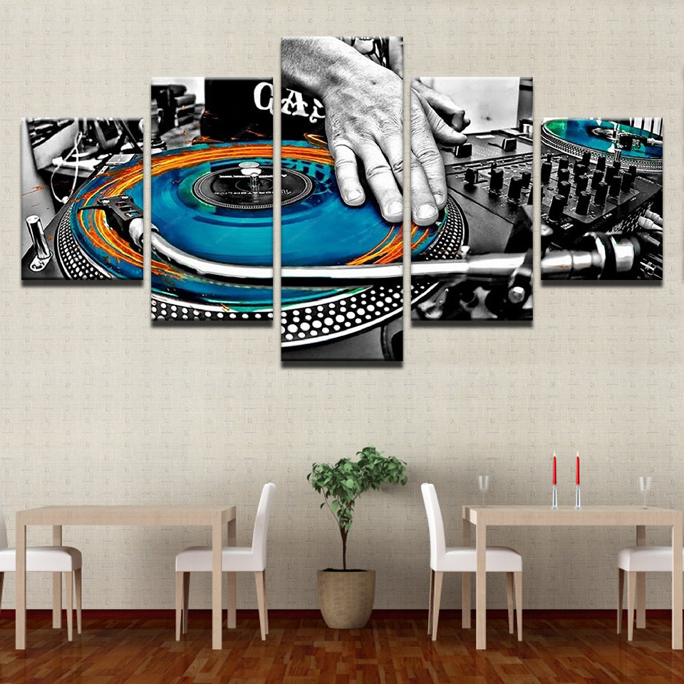 DJ Mixer Turntable Canvas Art