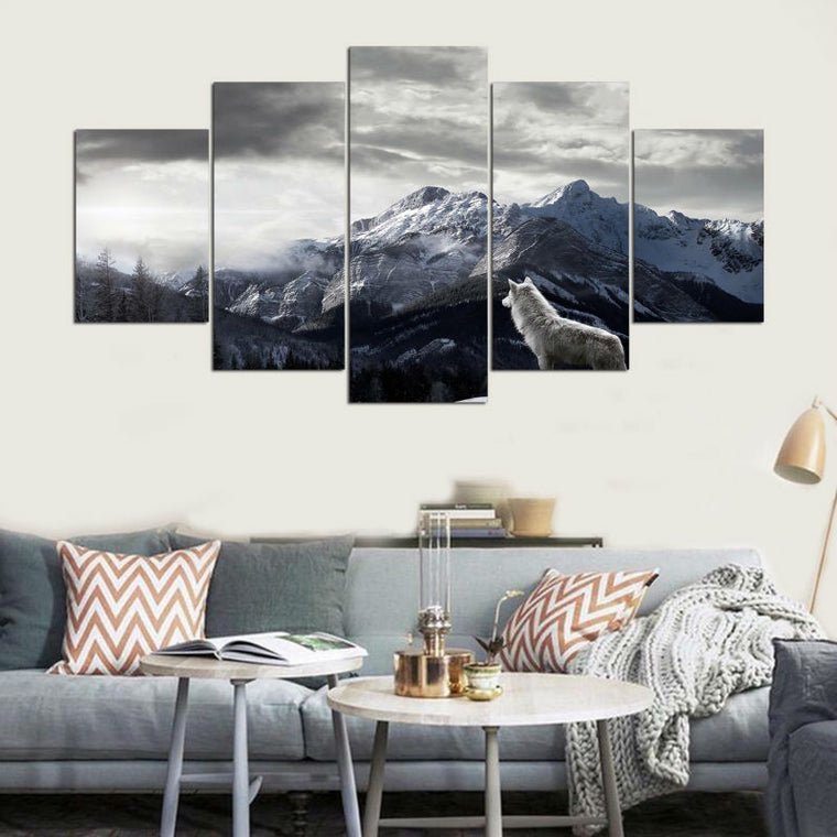 Mountain White Wolf Canvas Art
