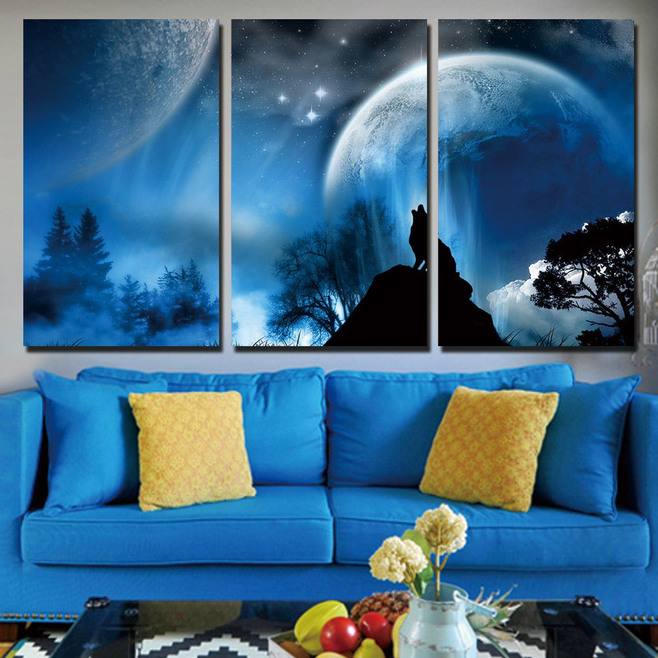 Moonlight and Howling Wolf Canvas Art