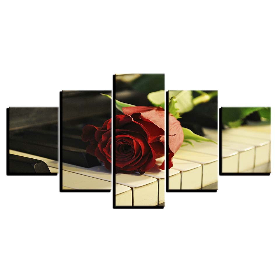 Red Rose & Piano Canvas Art