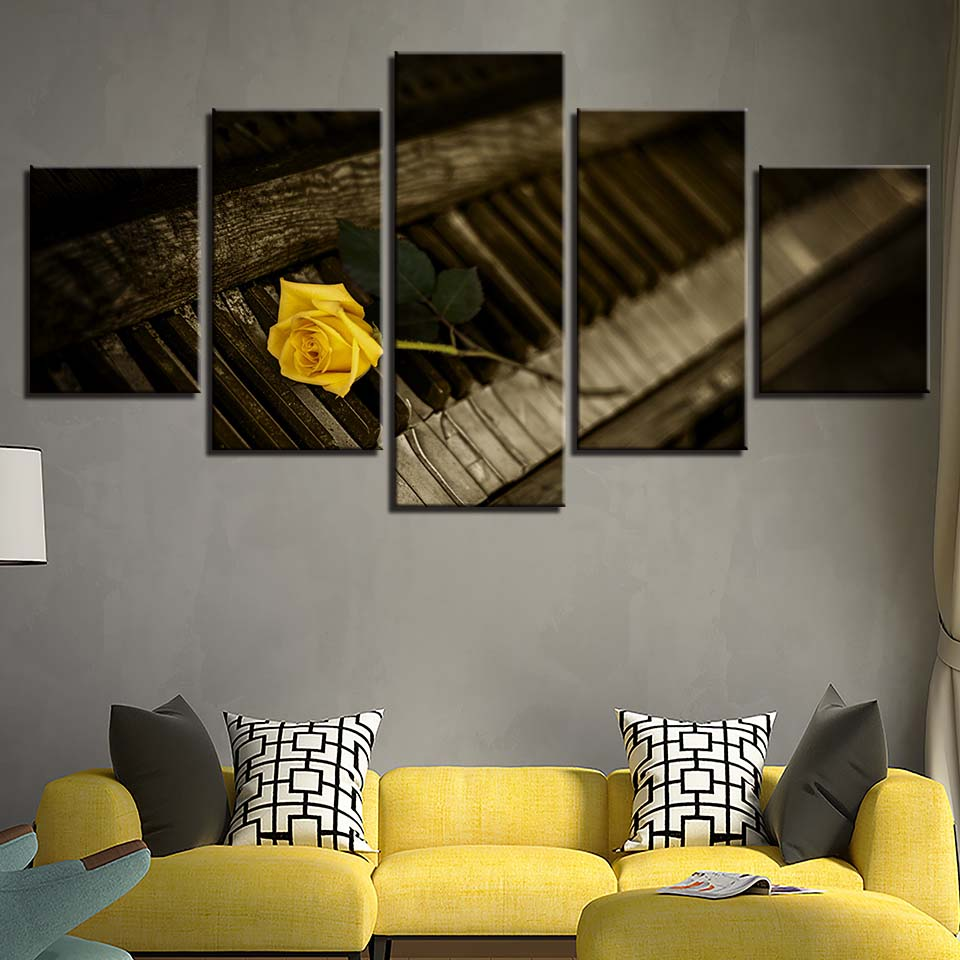 Retro Wood Piano Yellow Rose Canvas Art
