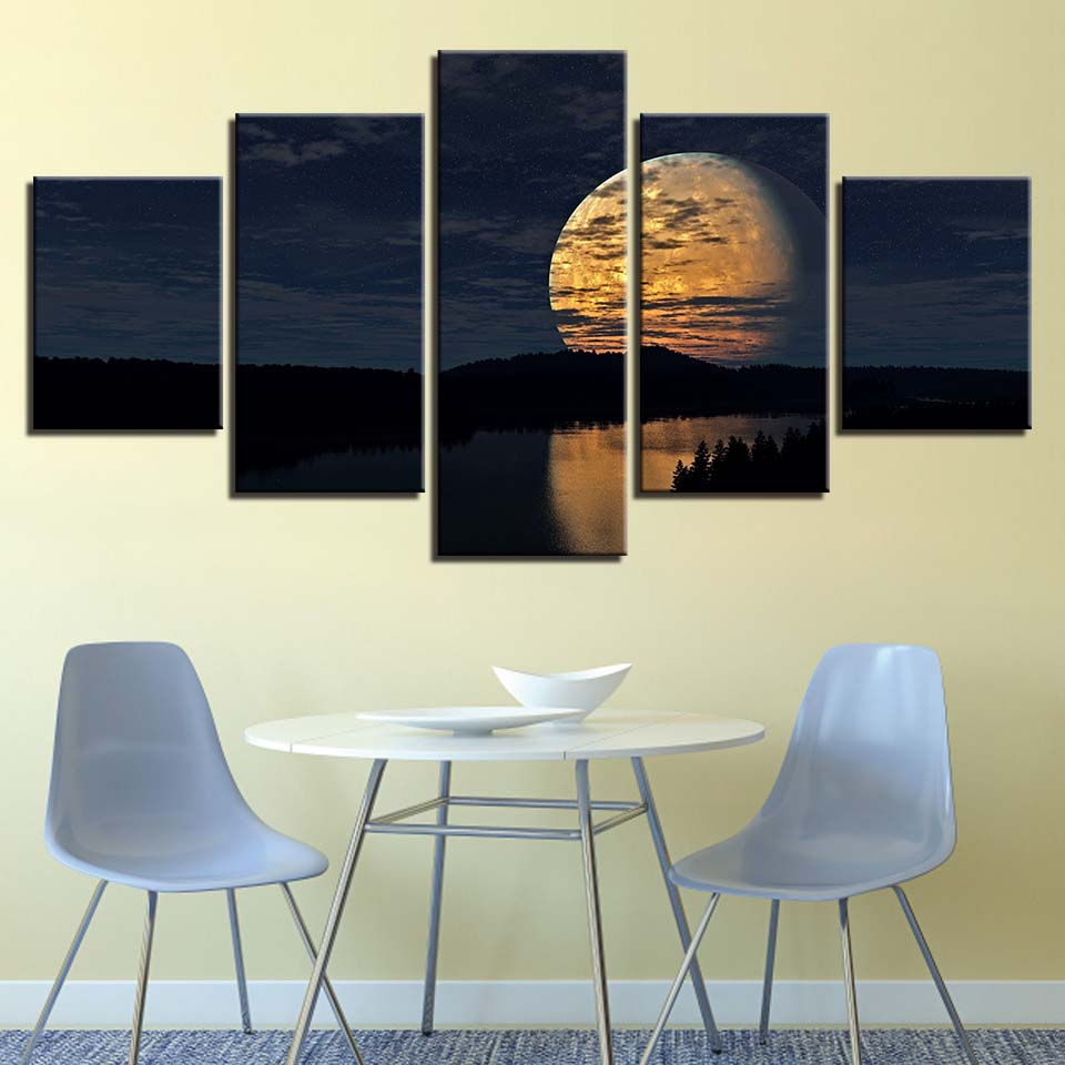 Abstract Full Moon Canvas Art