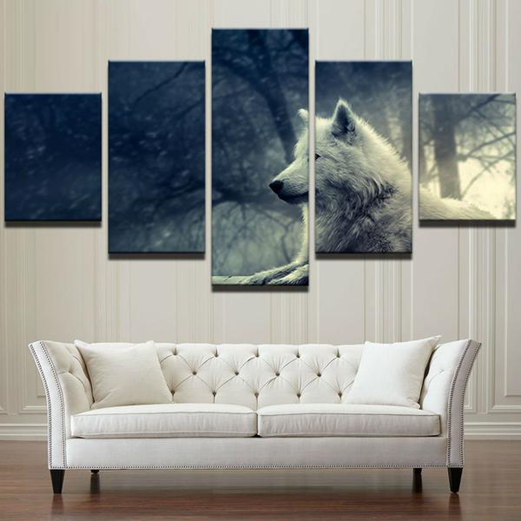 Forest White Wolf Canvas Art