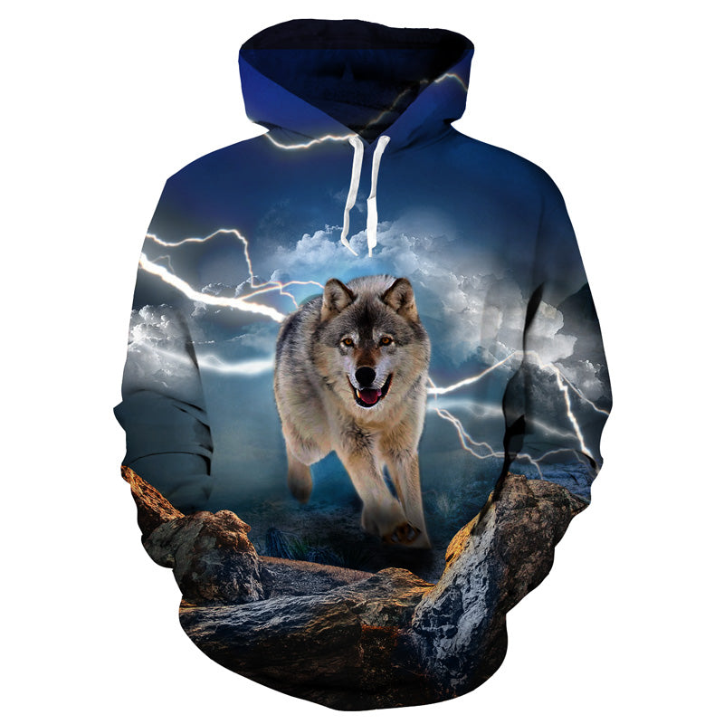 Wolf and Lightning Hoodie