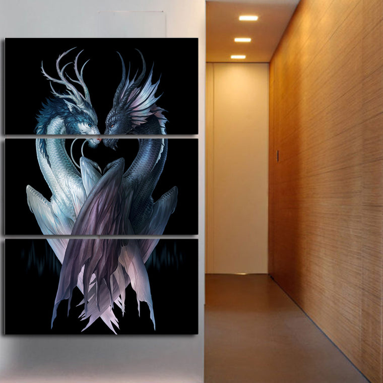 Yin & Yang Black Dragons Wall Art