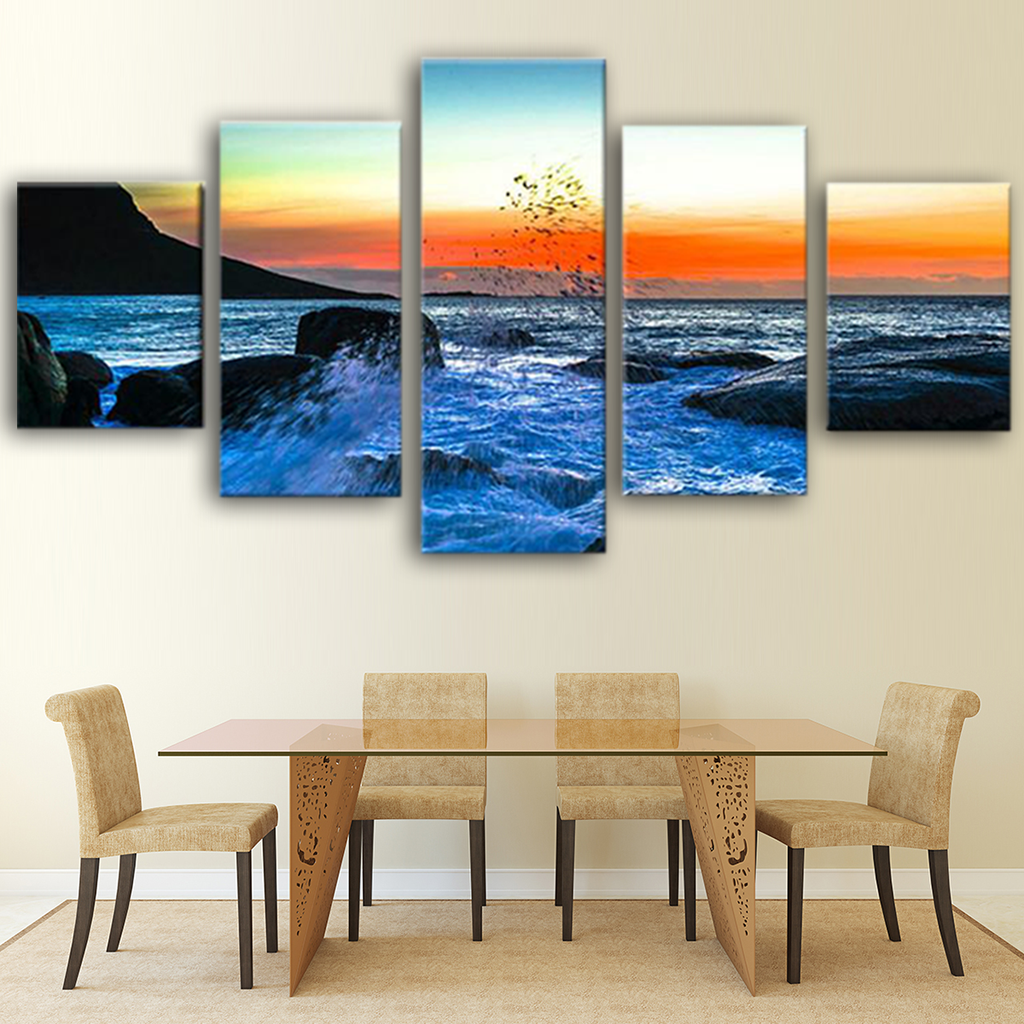 Sunset Reef Sea Wave Canvas Wall Art