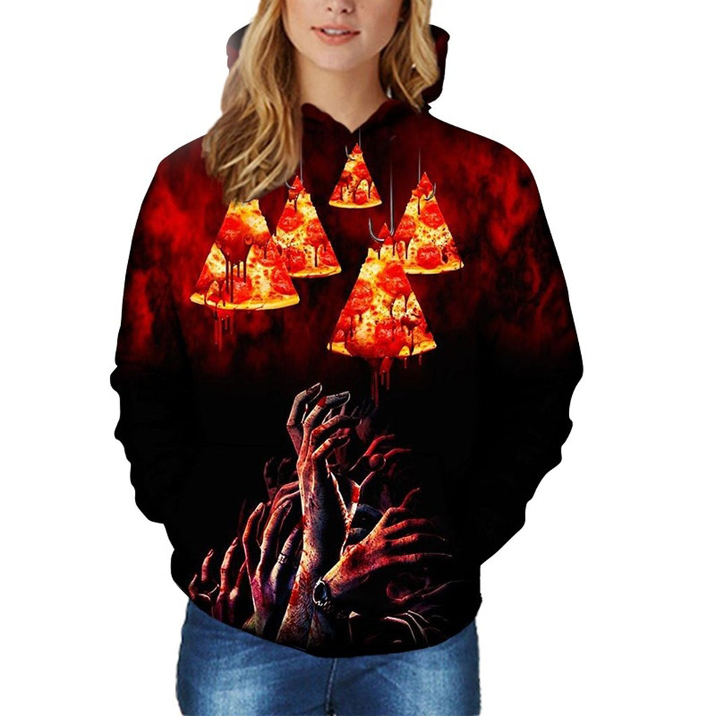 Scary Pizza 3D Print Hoodie