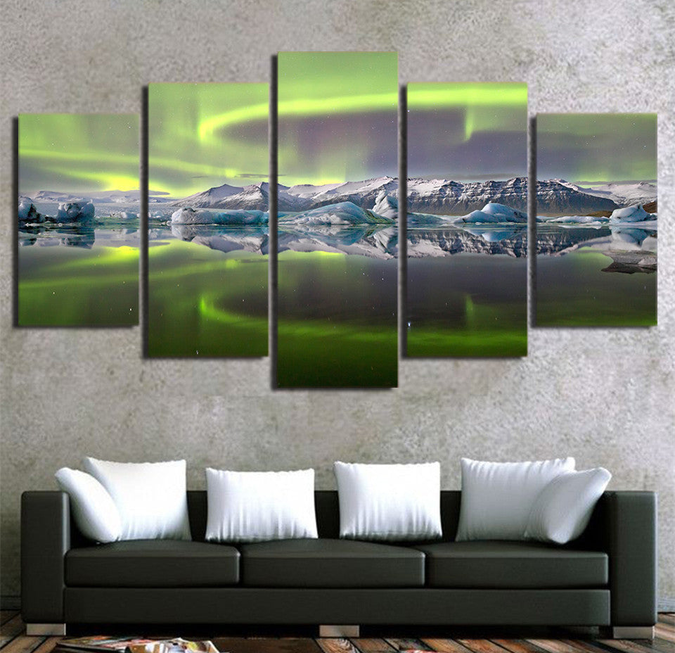Aurora Ice Mountain Lake Multiple Panel Canvas Art