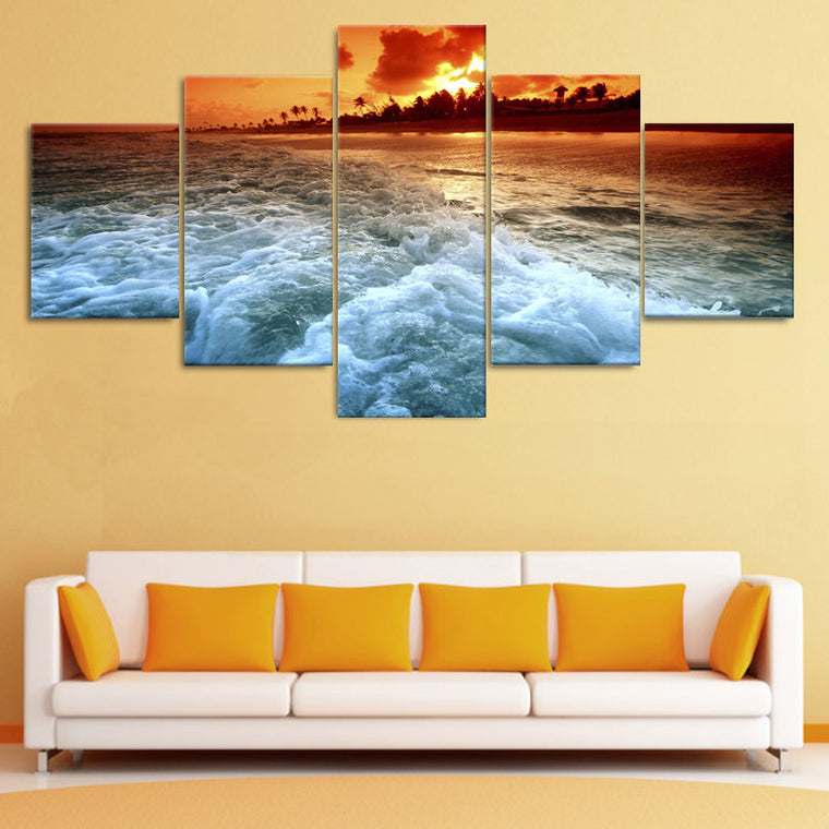 Sunset Beach Sea Wave Canvas Wall Art