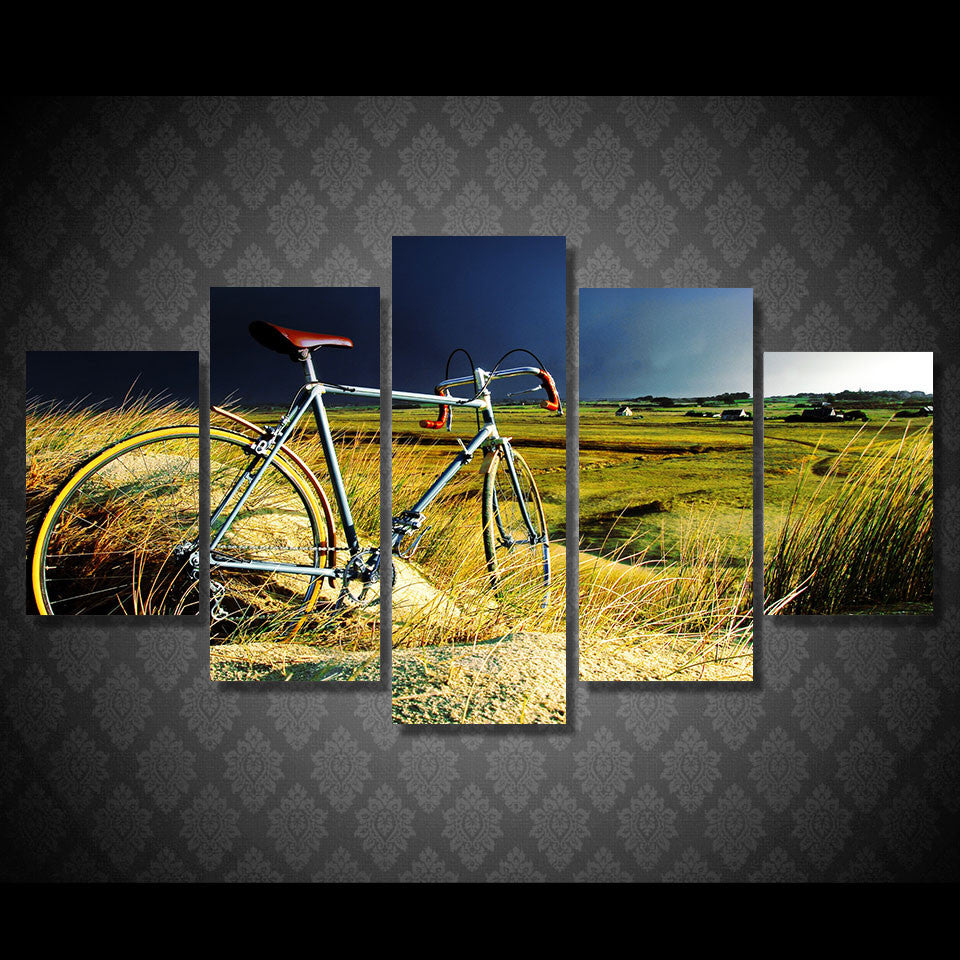The Vintage Bicycle In The Storm Canvas Wall Art