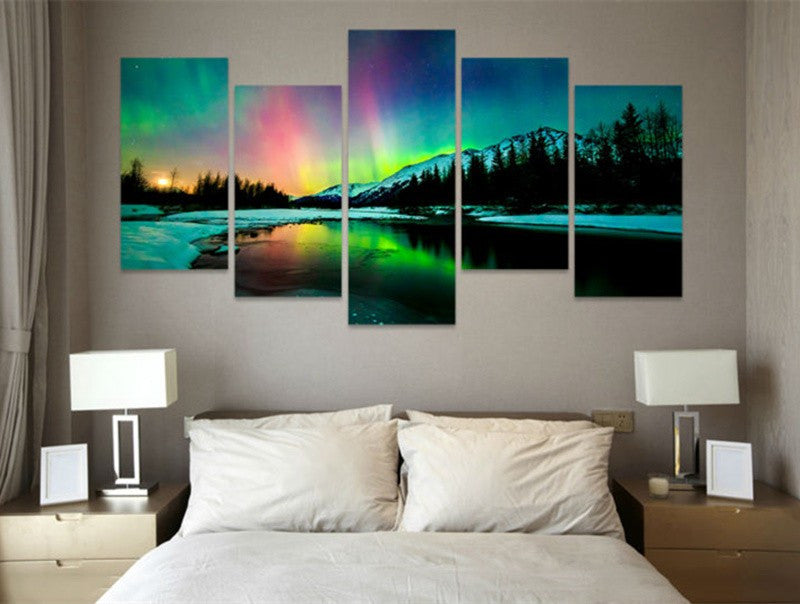 Colorful Aurora Borealis Canvas Wall Art