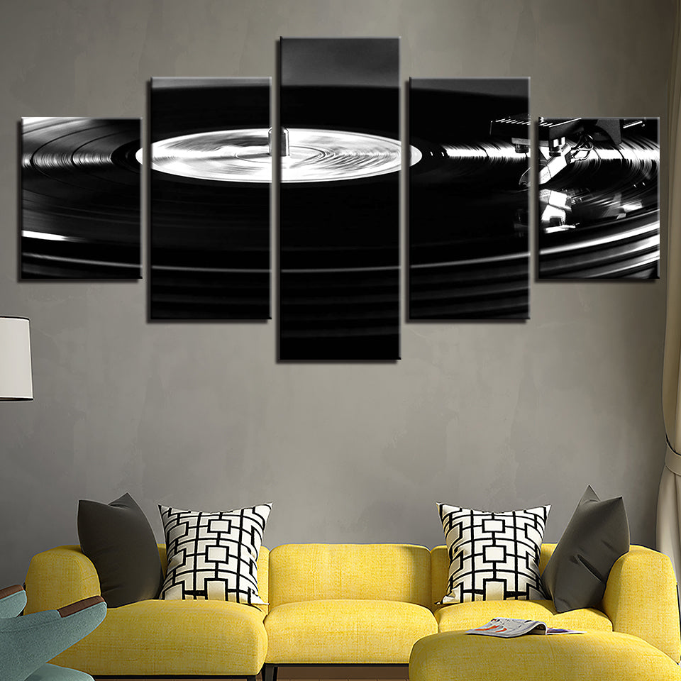 Black And White Music Playback Canvas Art