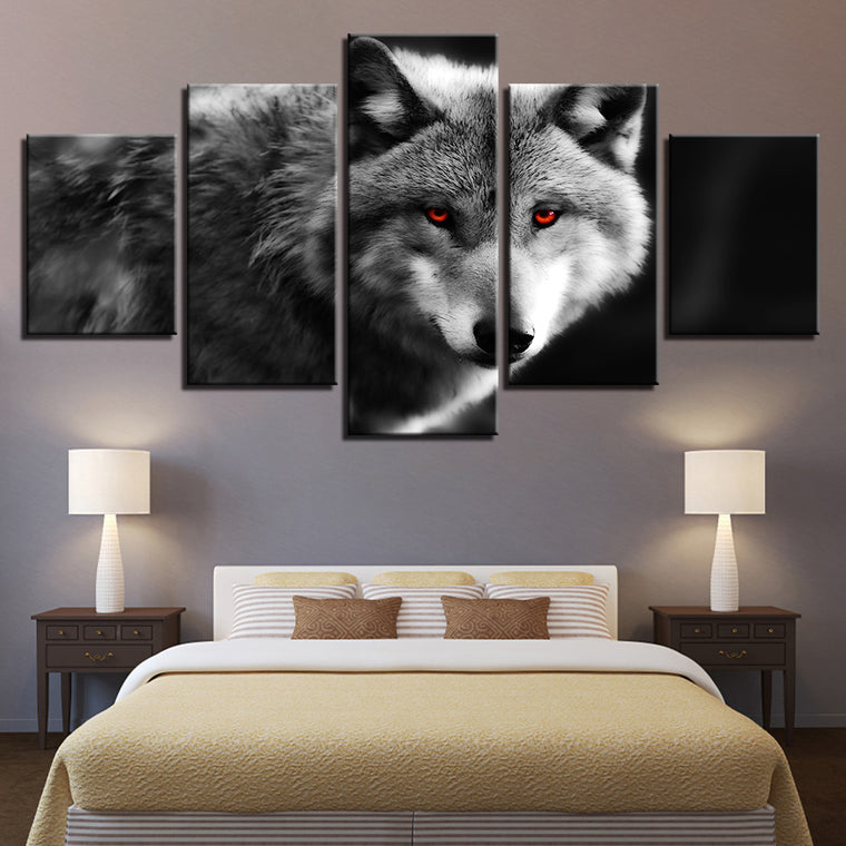 Red Eye Wolve Canvas Art