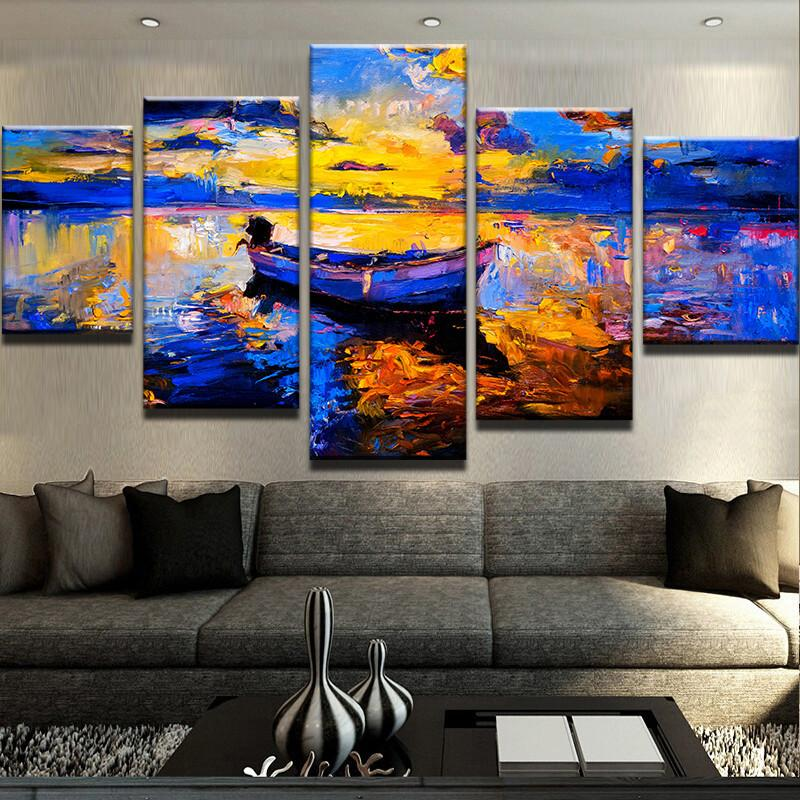 Abstract Boat Lake Landscape Canvas Art
