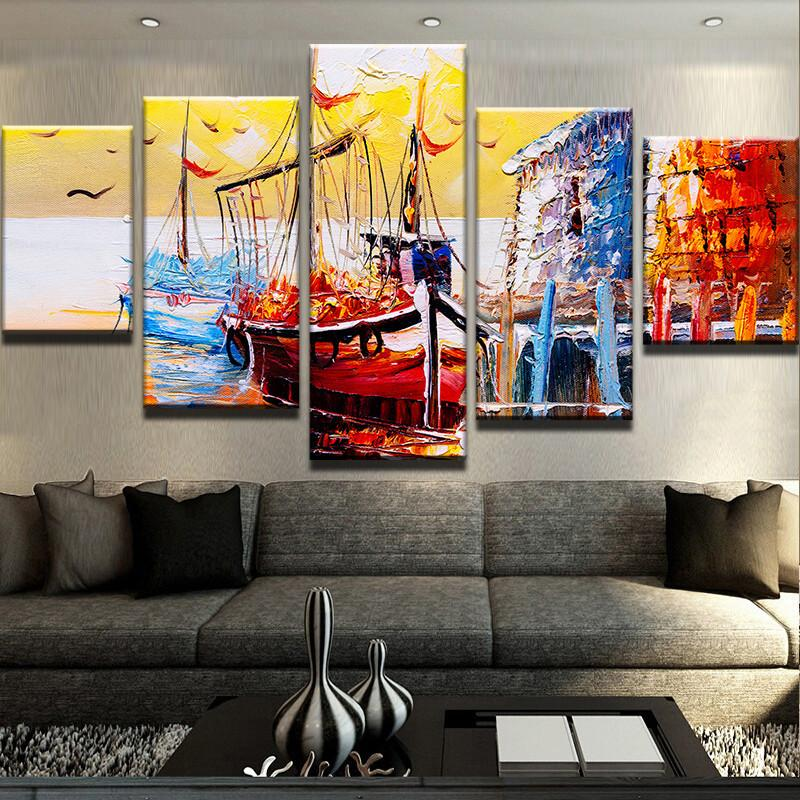 Abstract Ship at Bay Landscape Canvas Art
