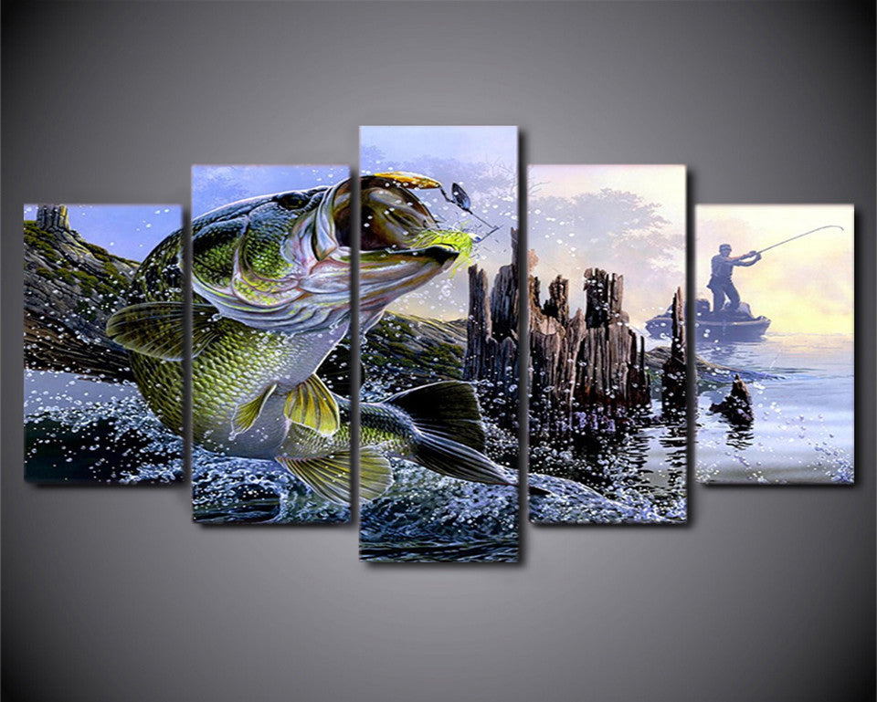 Perch Fishing Canvas Art