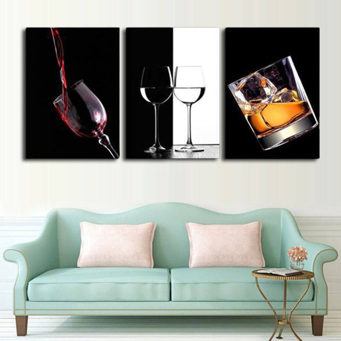 Minimal Wine and Whiskey Canvas Art