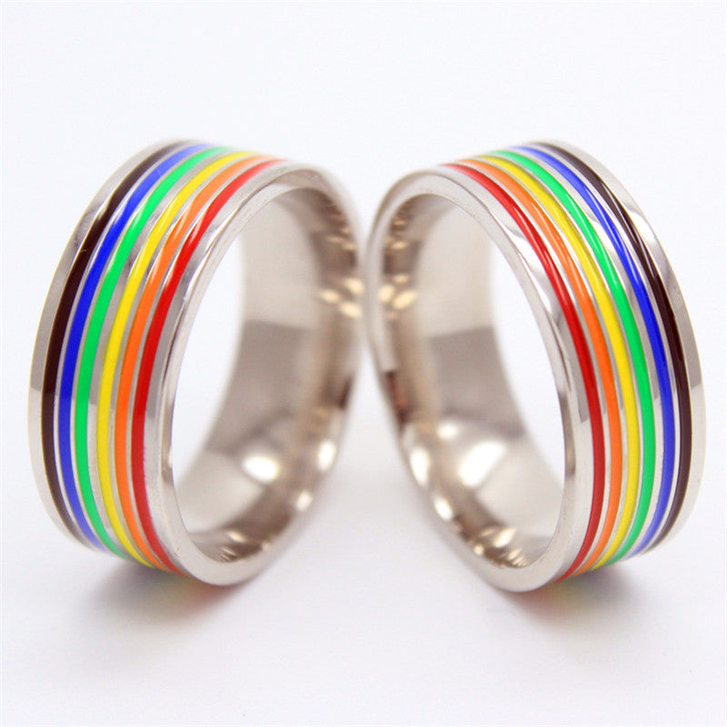 Stainless Steel PRIDE Rainbow Ring