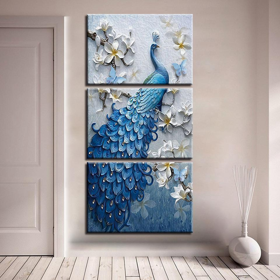 3 Panel Vertical Blue Peacock & White Orchid Canvas