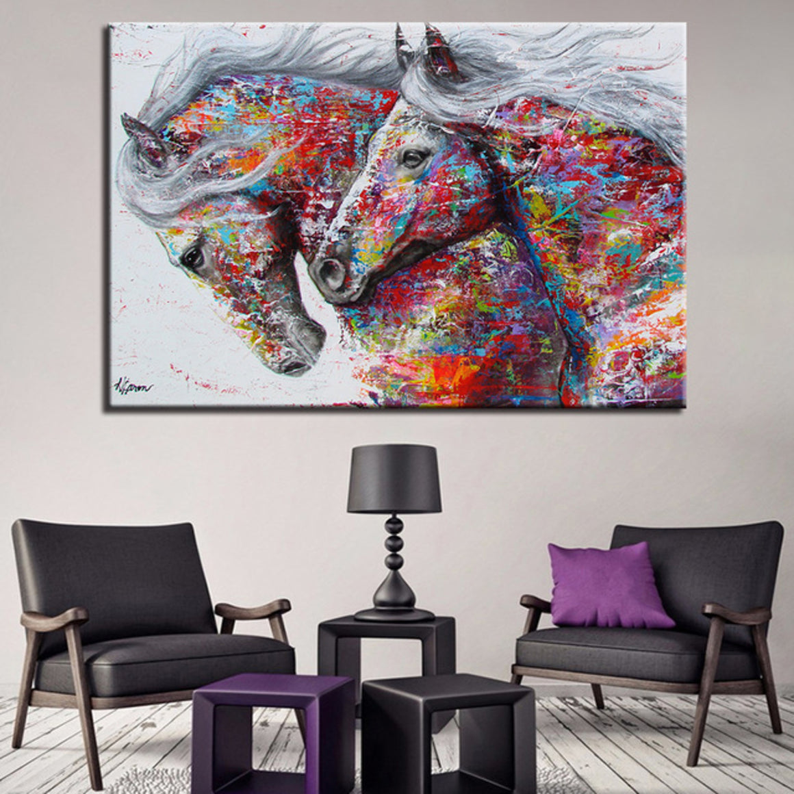 Two Running Horses Wall Art