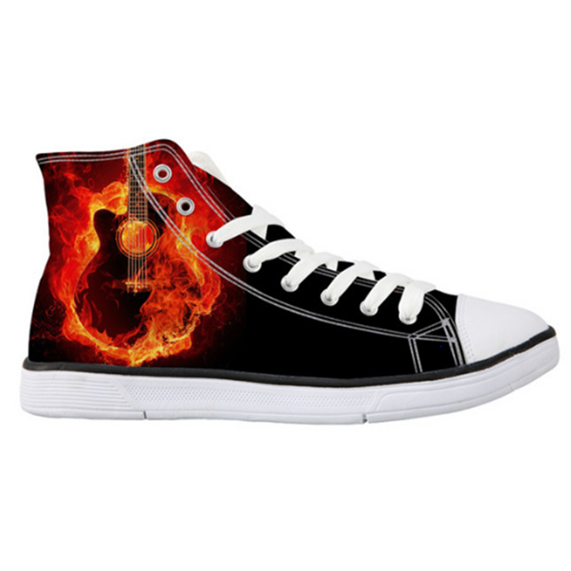 Burning Guitar High-Top Unisex Shoes